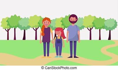 debout, mignon, parc, route, famille