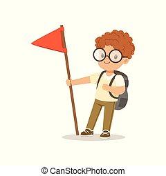debout, mignon, peu, extérieur, garçon, drapeau, illustration, camp, vecteur, déguisement, activité, rouges, scout