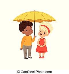 debout, mignon, peu, gosses, parapluie, jaune, illustration, vecteur, ensemble, fond, sous, blanc