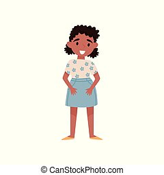 debout, mignon, peu, illustration, américain, vecteur, fond, africaine, blanc