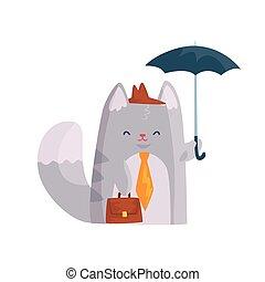 debout, mignon, serviette, parapluie, caractère, illustration, chat, rigolote, vecteur, animal, sous, homme affaires, dessin animé