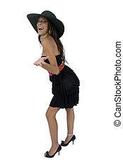 debout, modèle, à, chapeau