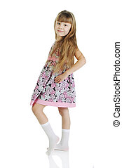 debout, modèle, peu, pose., isolé, charmer, fond, blanc, girl