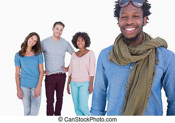 debout, mode, gens, jeune, autres, devant, homme