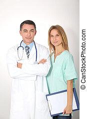 debout, monde médical, fond blanc, équipe