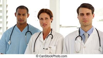 debout, monde médical, ramer équipe
