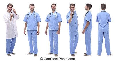 debout, monde médical, rang, groupe, médecins