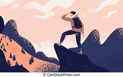 debout, montagne, concept, découverte, explorateur, sommet plat, randonnée, voyageur, travel., vecteur, ou, regarder, sac à dos, aventure, illustration., falaise, tourisme, exploration, valley., homme