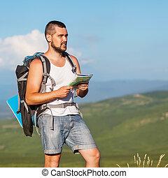 debout, montagne, sac à dos, sommet, randonneur