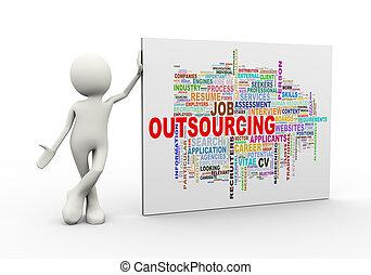 debout, mot, étiquettes, outsourcing, wordcloud, homme, 3d