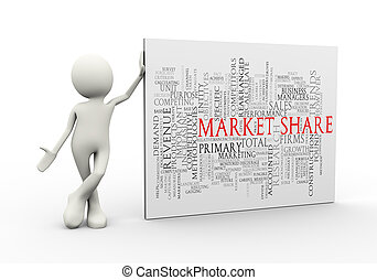debout, mot, étiquettes, part, wordcloud, homme, marché, 3d