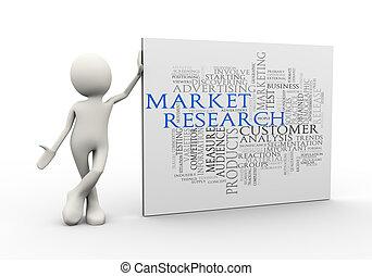 debout, mot, étiquettes, recherche, wordcloud, homme, marché, 3d
