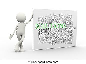 debout, mot, étiquettes, solution, wordcloud, homme, 3d