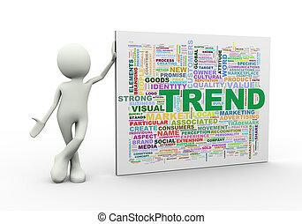 debout, mot, étiquettes, tendance, wordcloud, homme, 3d