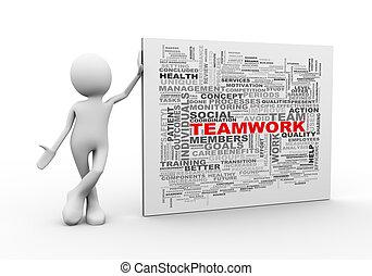 debout, mot, étiquettes, wordcloud, collaboration, homme, 3d