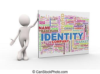 debout, mot, étiquettes, wordcloud, homme, identité, 3d