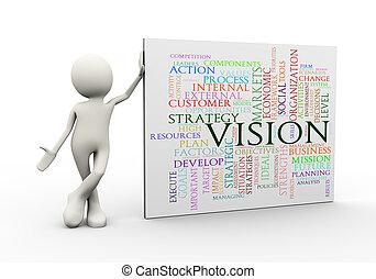 debout, mot, étiquettes, wordcloud, homme, vision, 3d