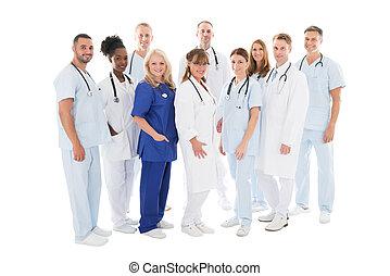 debout, multiethnic, monde médical, confiant, équipe, rang