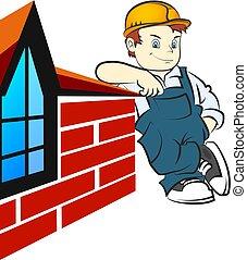 debout, mur, constructeur, maison brique