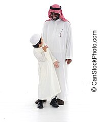 debout, musulman, père, ensemble, fils, arabe
