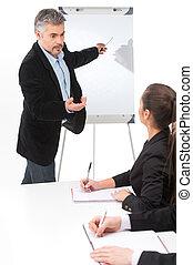 debout, notes., séance, femme affaires, whiteboard, diagramme, bureau, homme affaires, dessin