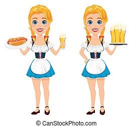 debout, oktoberfest, pintes, beer., bière, chien, illustration, trois, chaud, vecteur, tenue, roux, sexy, girl