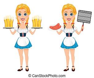 debout, oktoberfest, pintes, six, illustration, grils, bière, vecteur, saucisses, tenue, roux, sexy, girl, grid., barbecue