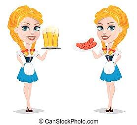 debout, oktoberfest, plaque, beer., illustration, vecteur, saucisses, tenue, roux, sexy, girl, dame