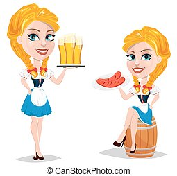 debout, oktoberfest, plaque, séance, beer., illustration, vecteur, saucisses, tenue, roux, sexy, girl, dame, baril