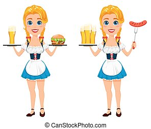 debout, oktoberfest, saucisse, fork., cheeseburger, illustration, grils, bière, vecteur, tenue, roux, sexy, girl