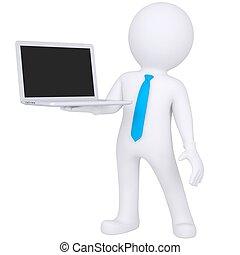 debout, ordinateur portable, homme, blanc, 3d