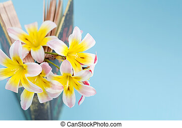 debout, ouvert, coloré, printemps, fleurs, arrière-plan., inbetween, closeup, book/diary, légèrement, pages