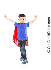 debout, ouvert, superhero, bras, gosse
