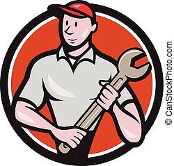 debout, ouvrier, mécanicien, clé, cercle, dessin animé