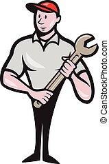 debout, ouvrier, porter, mécanicien, clé, dessin animé