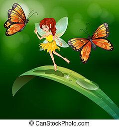 debout, papillons, feuille, fée