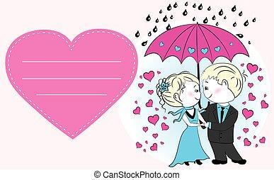 debout, parapluie, couple, pluie, sous, amour
