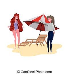 debout, parapluie plage, femmes
