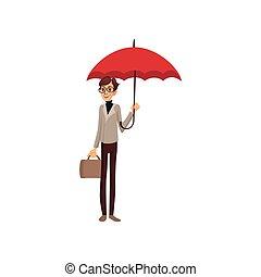 debout, parapluie, pluvieux, concept, serviette, illustration, vecteur, sous, temps, dessin animé, rouges, homme