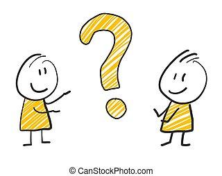 debout, pensée, question, illustration, marque, 2, jaune, homme, expression, crosse