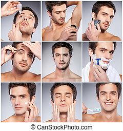 debout, personnel, image, jeune, contre, gris, composite, quoique, fond, hygiene., soins personnels, beau, homme