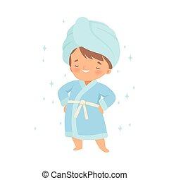 debout, peu, peignoir, serviette, garçon, sien, porter, vecteur, illustration, tête