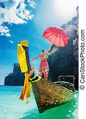 debout, phi, parapluie, golfe, bois, jeune, bateau, thaïlande, girl, mettre, rouges