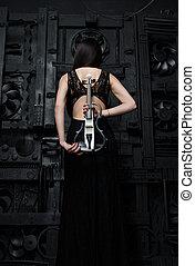 debout, photographe, dos femme, violon