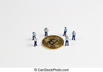 debout, pièces, officiers, bitcoin, garde, protection, sécurité
