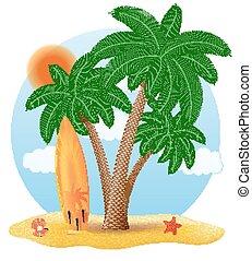 debout, planche surf, arbre, illustration, vecteur, paume, sous