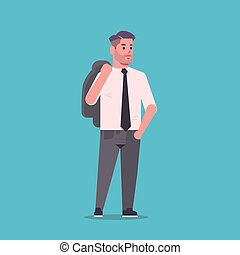 debout, plat, épaules, entiers, bureau, business, formel, ...