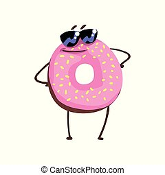 debout, plat, autocollant, lunettes soleil, carte, caractère, impressionnant, glaçage, bras, vecteur, salutation, beignet, vanille, rose, impression, beignet, akimbo., dessin animé, sprinkles.