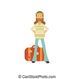 debout, plat, barbu, hippie, hanches, classique, subculture, clothes., bras, années soixante, retro, homme, hippy, suitcase., mâle, dessin animé, heureux