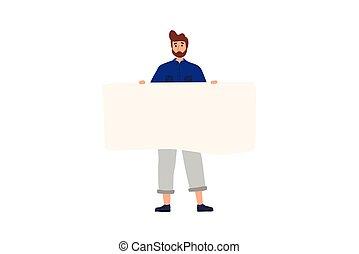 debout, plat, coloré, vide, tenue, banner., heureux, dessin animé, illustration., vecteur, garçon
